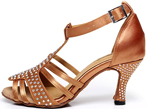Latin Salsa Womens Party Mid T Heel Tango Cha Cha toe bar Satin shoes Brown Peep Dance CFP n5pwxp