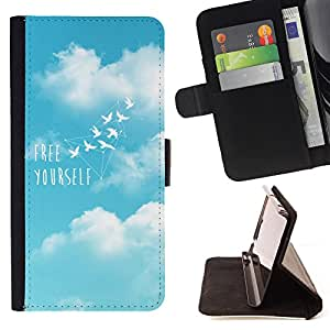King Air - Premium PU Leather Wallet Case with Card Slots, Cash Compartment and Detachable Wrist Strap FOR Sony Xperia m55w Z3 Compact Mini- Free Yourself