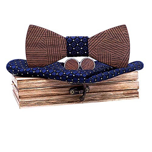 (CapsA Wooden Bowtie Mens Bow Tie for Anniversary Birthday Wedding Groomsmen Vintage Style Apparel Novelty Accessory with Cufflinks Square Scarf Elegant Box (B))