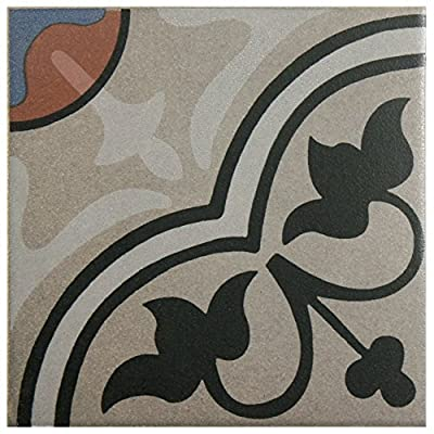 "SomerTile FNU7CQAC Zementu Quatro And Porcelain Floor and Wall Center Tile, 7"" x 7"", Gray/Black/Terracotta/Blue"