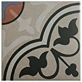 SomerTile FNU7CQAC Zementu Quatro And Porcelain Floor and Wall Center Tile, 7'' x 7'', Gray/Black/Terracotta/Blue