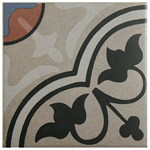 SomerTile FNU7CQAC Zementu Quatro And Porcelain Floor and Wall Center Tile, 7'' x 7'', Gray/Black/Terracotta/Blue by SOMERTILE