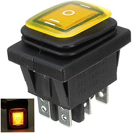 Bleu EsportsMJJ Commutateur /À Bascule 16A 250V 3 Positions 6 Broches Interrupteur /À Bascule /Étanche avec Lampe