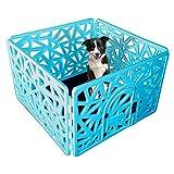 Paw Essentials Reinforced Dog/Pet 4-Panel Pen Playpen with Door – 23.62 x 37.4in Each Panel (Blue) Review
