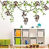 ufengke® Cute Monkeys Climbing Tree Vines Wall Decals, Children's Room Nursery Removable Wall Stickers Murals