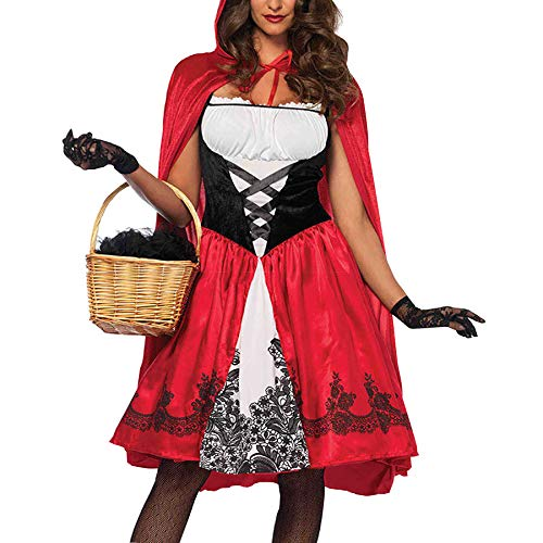 (Deer Mum Women Cozy Cosplay Dress Costumes Little Red Riding Hood with Cape 2)