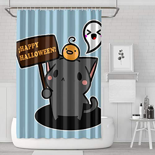 LIHONG2A Happy Halloween Kawaii Cat Shower Curtain Set with Hooks Design 72 X 72 Inches Bathroom Curtain ()
