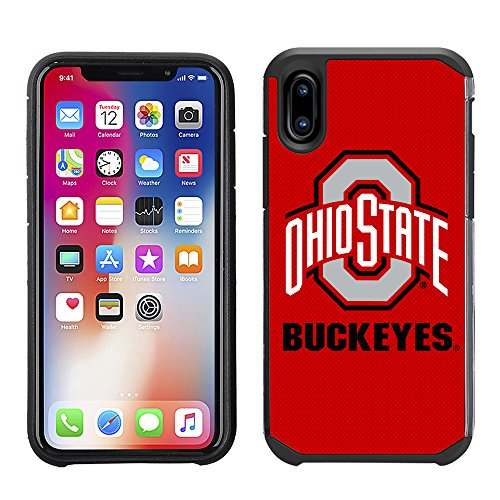 Prime Brands Group Textured Team Color Cell Phone Case for Apple iPhone X - NCAA Licensed Ohio State University Buckeyes (Case State Phone Cell)
