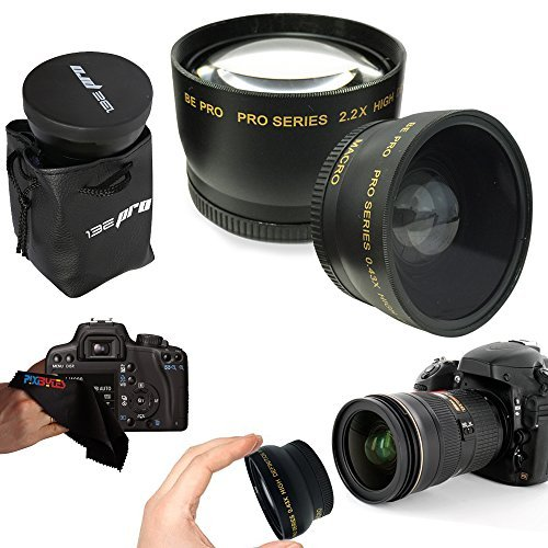 I3ePro 58mm .43x Wide Angle Lens + 2.2x Telephoto Lens for 58mm Thread Lenses for Canon Lenses