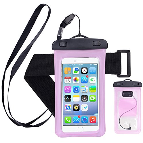 Yomole Waterproof Case,Cell Phone Universal Dry Bag Pouch (Floatable) with Headphone Jack+Lanyard+Armband [Clear] for Apple iPhone 7 6 Plus,Samsung S8 S7 S6 edge, Smartphone Devices Up To 6.0 (Pink)