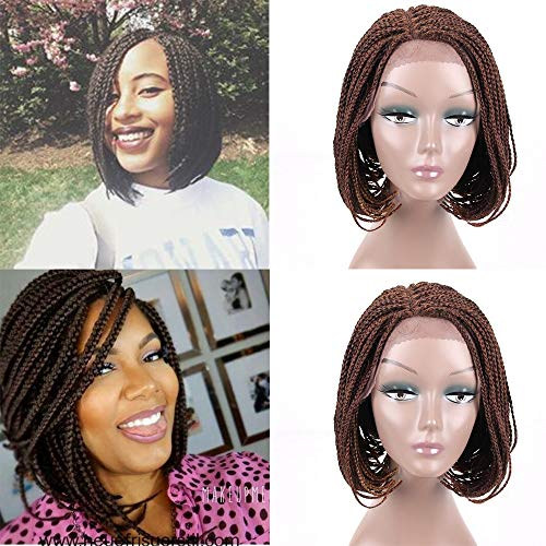 Lace Front Wig for Black Women 12Inch Glueless Short Bob Braided Lace Wig with Baby Hair for Daily Wear Half Hand Tied ()