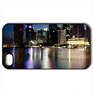 Singapore reflections - Case Cover for iPhone 4 and 4s (Modern Series, Watercolor style, Black)