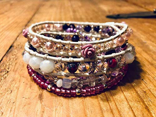 Leather Wrap Six Strand Bracelet, Genuine Anethyst, Jasper, Crystals, Carved Roses & Czech glass beads. Gift Special Ocassion