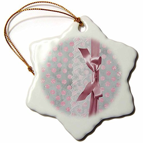 Christmas Ornament Uta Naumann Vintage Lace Collection - White Floral Lace With Silk Ribbon On Pink Polka Dot Grunge Paper - Snowflake Porcelain ()