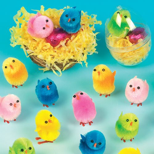 Colored Mini Fluffy Chicks for Children to Decorate Spring and Easter Crafts Projects Perfect Party Bag Filler (Pack of 12) ()
