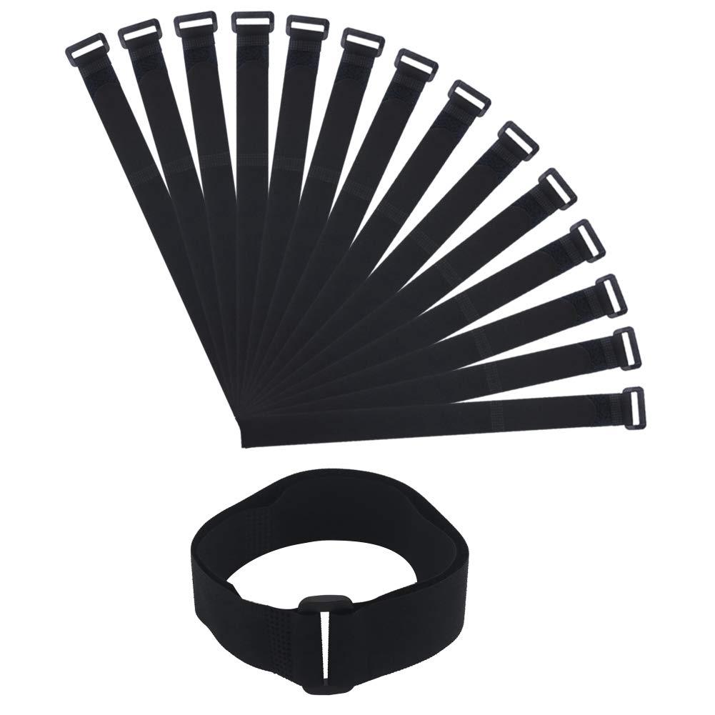 Shintop 15Pcs Cinch Straps, Adjustable Reusable Hook and Loop Straps for Home, Office, Garden Cable Management, 56.5cmX2.5cm (Black)
