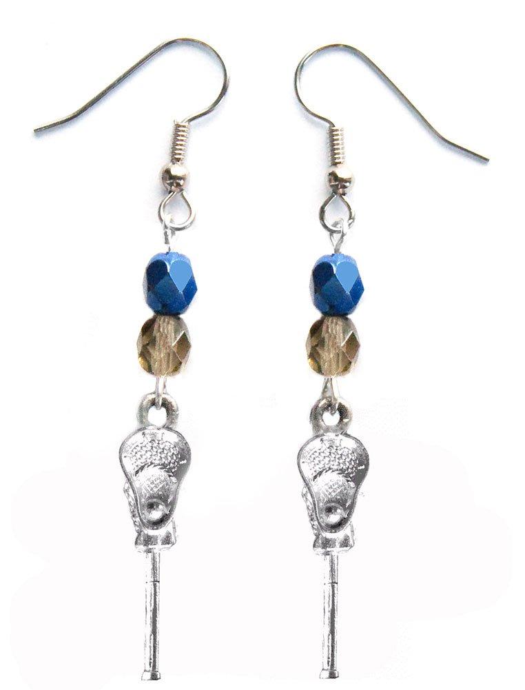 ''Lacrosse Stick & Ball'' Lacrosse Earrings (Team Colors Navy Blue & Grey)