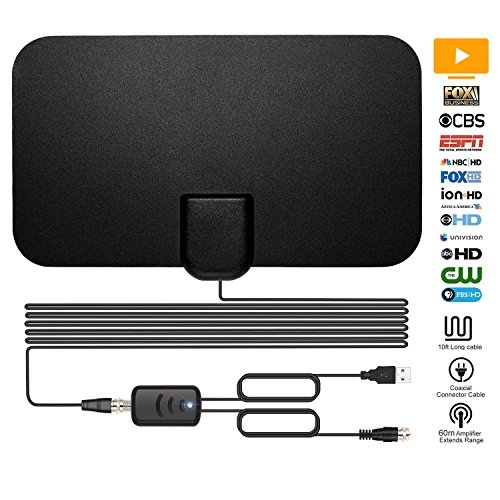 TV Antenna, Indoor TV Antenna for Digital HDTV, Over 60+Miles Long Range Access Digital TV Antenna- Support 4K 1080P HD/VHF/UHF Freeview Channels for All Types of Built-in Tuner Home Smart Television by Anycamp