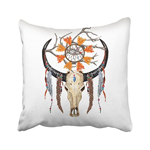 Emvency Decorative Watercolor Buffalo Skull Feathers Dreamcatcher Beaded Ribbons Holy Tree Branch Throw Pillow Case Cases Cover Cushion Covers Retro Pillowcases 16x16 Inches Double (Tribal Horn Necklace)