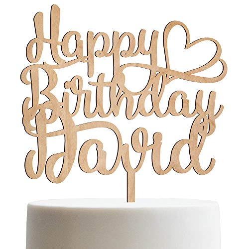 - Happy Birthday Heart Personalized Name Birthday Cake Topper Customized Birthday Cake Topper With Name | Wooden Cake Toppers