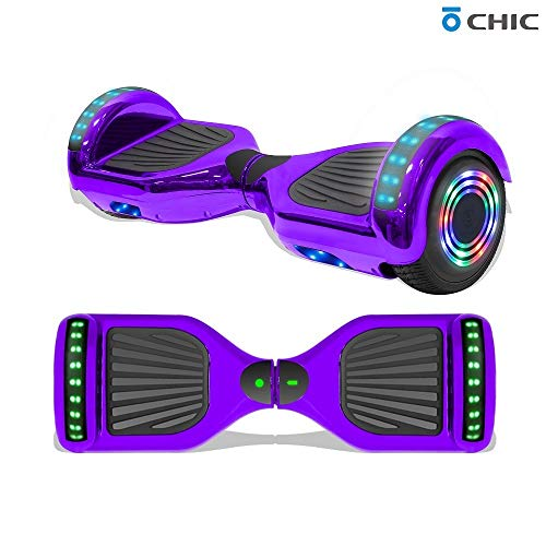 "TPS 6.5"" Chrome Hoverboard Electric Self Balancing Scooter with Bluetooth LED Lights UL2272 Certified (Chrome Purple)"