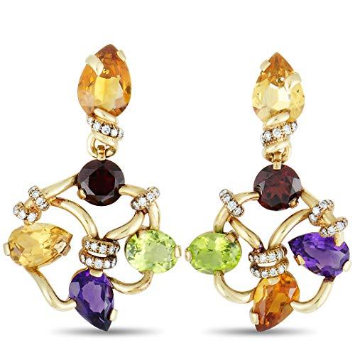 Chanel (Est.) Chanel 18K Yellow Gold Diamond, Amethyst,Garnet, Citrine, and Peridot Clip On Earrings