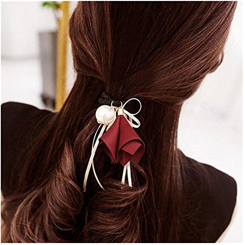 Korean Tie (Casualfashion 6Pcs Stylish Korean Morning Glory Flower Ribbon Hair Bows Hair Ties Ponytail Holder for Women Girls)