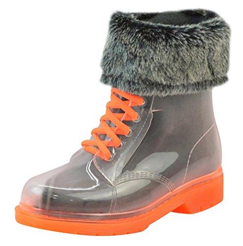LvRao Goma Naranja Pelaje Zapatos de de de Nieve con Impermeable Tobillo Transparente Boots con de Lluvia Corto Mujer Calentar Cordones Botas Bota wxqt1Hw4r