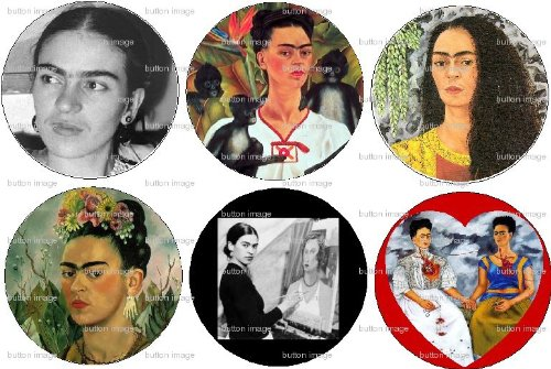Set of 6 Frida Kahlo Pinback Buttons 1.25