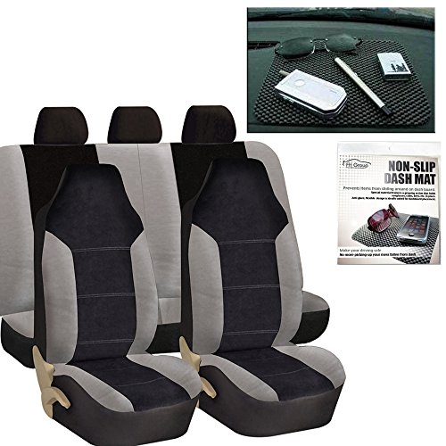 FH Group FH-FB103115 Leather/Velour High Back Car Seat Covers Gray/Black (Full Set Airbag Ready and Split Rear Bench) with FH1002 Non-slip Dash Grip Pad -Fit Most Car, Truck, Suv, or Van