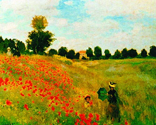 (Claude Monet Poppy Field Impressionist Fine Art Print (Framed 8 x 10 Poster))