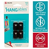 VELCRO Brand HANGables Removable Wall Hooks | Easy-to-Remove Wall Fasteners | Damage-Free, Non-Permanent Hooks for Lightweight Items | Micro, Holds 1/2 lb, Black, 4-Pack