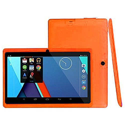 Hometom Tablet PC, 7'' Tablet Android 4.4 Quad Core HD 1080x720, Dual Camera Blue-Tooth Wi-Fi, 8GB 3D Game Supported (Orange) by Hometom (Image #1)