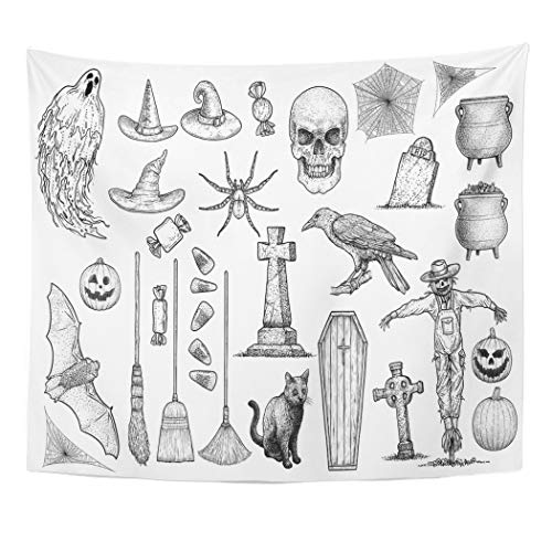 Emvency Tapestry Wall Hanging Art Nature Home Etching Halloween Collection Drawing Engraving Ink Line Gravestone Ghost Grave for Living Room Bedroom Dorm Decor in 50 x 60 Inches