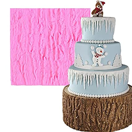 HUPLUE Tree Bark Line Cake Mold Texture Shaped DIY Fondant Chocolate Cake  Sugar Mold Christmas Cupcake Decoration Silicone Pudding Mould Kitchen