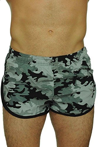 UZZI Men's Basic Running Shorts Swimwear Trunks 1830 Camo Black L by UZZI