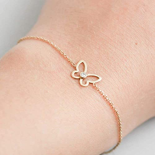 9f9eff9afe6f9 Amazon.com: Butterfly Gold Bracelet 14K Gold Elegant Dainty Chain ...