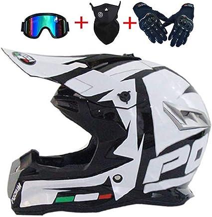 LEENY Motocross-Helm Motorradhelm f/ür M/änner Damen Herren Cross-Helm Sets mit Brillen//Maske//Handschuhe Motorrad Sports DH Enduro-Helm ATV MTB Quad Motorr/äder Off-Road-Helm Wei/ß