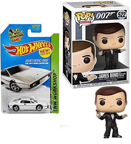 Hot Wheels 007 Spy Pop! James Bond Funko The Spy Who Loved Me Roger Moore Movies #522 Bundled Lotus Esprit S1 Movie Car 2 Items