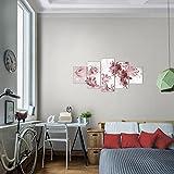 Bilder-Blumen-Lilien-Wandbild-Vlies-Leinwand-Bild-XXL-Format-Wandbilder-Wohnzimmer-Wohnung-Deko-Kunstdrucke-Rot-5-Teilig-100-MADE-IN-GERMANY-Fertig-zum-Aufhngen-009452a