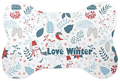 RNK Shops Winter Bone Shaped Dog Food Mat (Personalized)