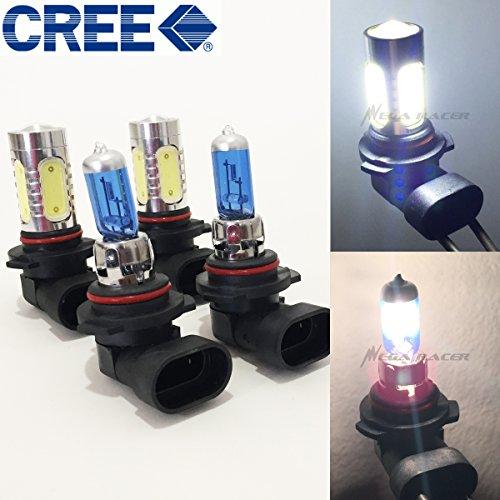 Mega Racer Combo 9006-HB4 White 100 Watt Halogen 5000K 9005-HB3 CREE Q5 Plasma LED Light 6K Xenon Lamp Headlight Bulb High/Low ()