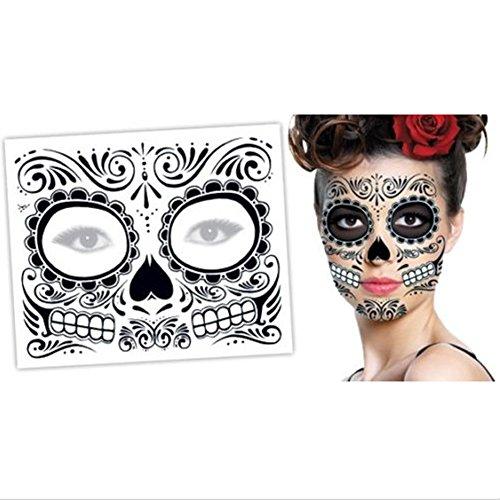 Halloween Face Tattoos Black Skeleton Day of the Dead For Men Women Halloween 1Pcs (Teeth Skeleton)