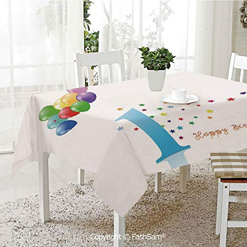 (FashSam 3D Print Table Cloths Cover Kids Party Theme One with Abstract Colorful Stars and Balloons Art Waterproof Stain Resistant Table Toppers(W60)