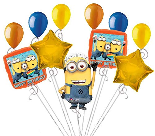 11 pc Despicable Me Minions Happy Birthday Balloon Bouquet Party Decoration