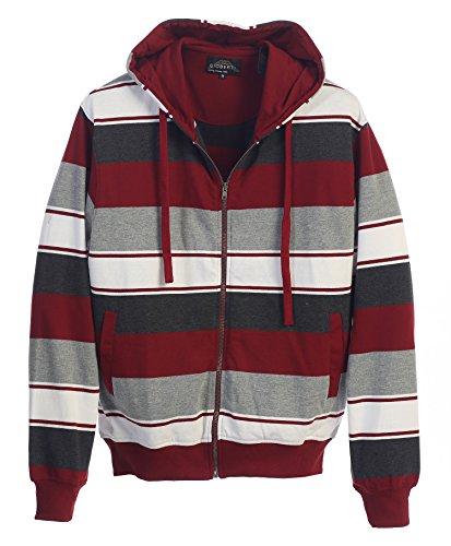 Fashion Full Zip Sweatshirt (Gioberti Mens French Terry Full Zip Striped Hoodie Sweater, Maroon, X)