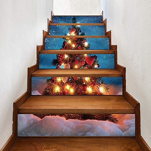 Sunshinehomely Christmas Stair Decals, Christmas 3D Print Santa Claus Snowman Simulation Stair Stickers Waterproof Wall Stickers DIY Home Decor 6 pcs (D)