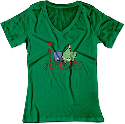 BSW Women's I Like Zombies Thumbs Up Facebook V-Neck Shirt XS Kelly Green
