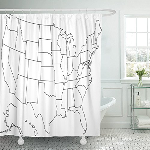 - Emvency Shower Curtain Blue USA United States of America Map in North Waterproof Polyester Fabric 60 x 72 inches Set with Hooks