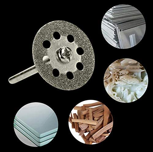 20 Pieces 22mm Diamond Cutting Wheel Dremel Rotary Tool Accessories with 4 Pieces Mandrel BetterJonny 24pcs Diamond Cutting Discs